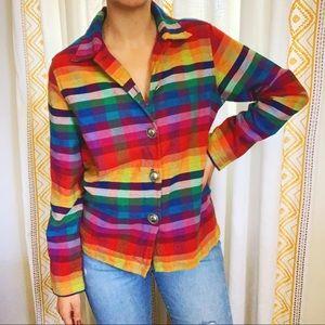 🌈 PRIDE Rainbow Plaid Button Down Shirt Vintage
